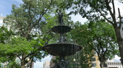 Memphis Court Square Fountain Handheld Gimbal Shot - stock footage