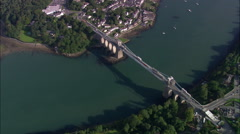 Telford's Suspension Bridge Across The Menai Starights Stock Footage