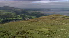 View Over Llanfairfechan From The Quarry Stock Footage