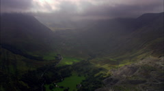 Beautiful Sun Lit Nant Francon Valley Stock Footage