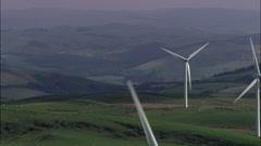 Wind Farm Overlooking Aberysytwyth Stock Footage