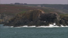 St David's Head Coast From Low Over Sea Stock Footage