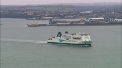 Irish Ferry Leaving Harbour At Milford Haven Stock Footage