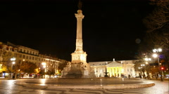 The National Theatre D. Maria II by night Stock Footage