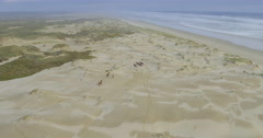 Aerial of herd of wild horses running on a sandy beach in northland, new zealand Stock Footage