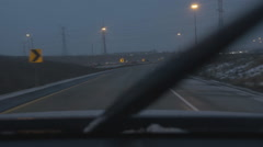Driving on wet, winter evening. Merging with Hwy 404, Toronto. Stock Footage