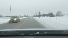 Driving on Simcoe County Rd 88. Winter in rural Ontario, Canada. Stock Footage