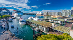 4k hyperlapse video of Circular Quay in Sydney CBD in daytime Stock Footage