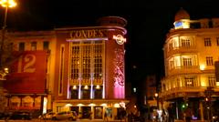 Hard Rock cafe Lisbon at night Stock Footage