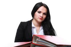 beautiful woman with folders - stock photo