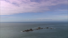 Longships Lighthouse Off Land's End Stock Footage