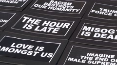Black Lives Matter Protest Signs Stock Footage