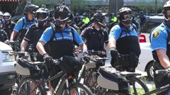 Police on Bicycles at RNC Stock Footage