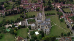 Good Reveal Of Salisbury Cathedral From Spire With A Move Up And Over Stock Footage