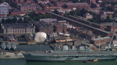 Modern Warship Infront Of Hms Victory Stock Footage