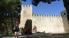 Entrance of Sao Jorge Castle Stock Footage