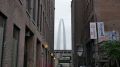 St Louis Arch Cinematic as Seen Between Buildings on the Street Stock Footage