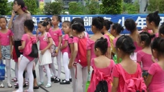 The children in the kindergarten take part in the dance competition. Stock Footage