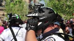 Police with Bike Helmet Stock Footage