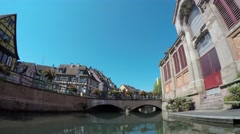 Time Lapse. Colmar, Alsace, France - Canal boat at Little Venice Stock Footage