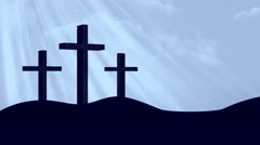 3 Crosses-Worship Cyan Loopable Background Stock Footage