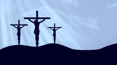 Crucifixion 3 Crosses Worship Cyan Loopable Background Stock Footage