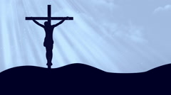Crucifixion Worship Cyan Loopable Background Stock Footage