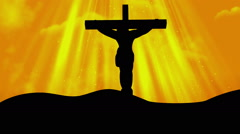 Christ on Cross Worship Yellow Loopable Background Stock Footage