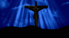 Christ on Christ on Cross Worship Blue Loopable Background Stock Footage