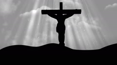 Christ on Cross Worship White Loopable Background Stock Footage