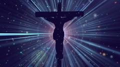 Christ on Cross Divine Worship Rays Blue Loopable Background Stock Footage
