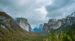 Time Lapse - Cloudy Evening at Yosemite Valley Stock Footage