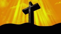 Worship Cross Yellow Loopable Background Stock Footage
