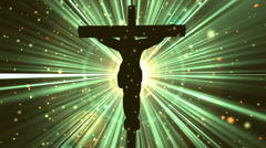 Christ on Cross Divine Worship Rays Yellow Loopable Background Stock Footage