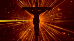 Christ on Cross Divine Worship Rays Orange Loopable Background Stock Footage