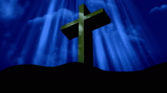 Worship Cross Blue Loopable Background Stock Footage