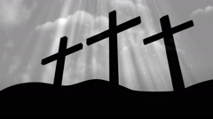 Good Friday 3 Crosses White Loopable Background Stock Footage