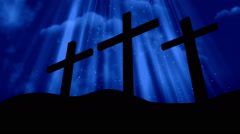 Good Friday 3 Crosses Blue Loopable Background Stock Footage