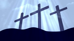 Good Friday 3 Crosses Cyan Loopable Background Stock Footage