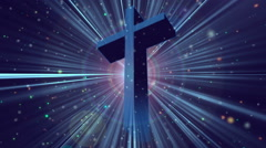 Divine Worship Cross Rays Blue Loopable Background Stock Footage
