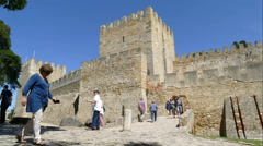 Wall and guardhouse at Sao Jorge Castle Stock Footage