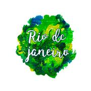 Inscription Rio de Janeiro Brazil vacation on a background watercolor stains - stock illustration