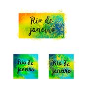 Inscription Rio de Janeiro Brazil vacation on a background watercolor stains Piirros