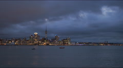Night shot of auckland in new zealand Stock Footage
