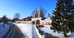 Rizopolozhensky female monastery in Suzdal. Stock Footage