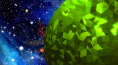 Rotating reflective green orb in space Stock Footage