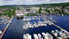 Kirkland Washington Marina Waterfront Fly Away Aerial Stock Footage