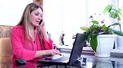 Girl chief consultant internet shop by phone communicates with the buyer - stock footage