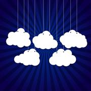 White clouds on a thread on background. Stock Illustration