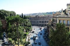 Rome Italy 18 June 2016. Theater of Marcellus view from Capitol Hill. - stock photo
